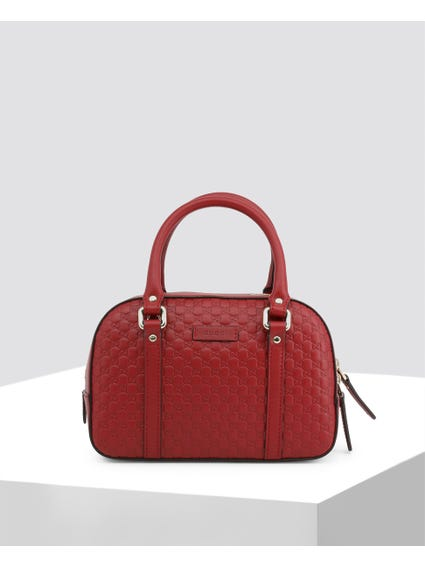 Red Patterned Leather Satchel