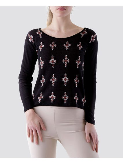Long Sleeve Printed Knitted Sweater