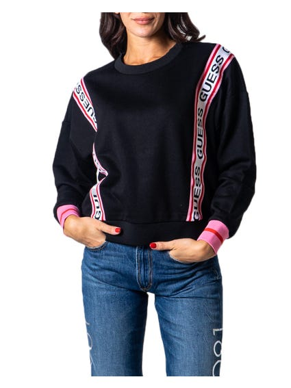 Black Long Sleeve Tape Trim Print Sweatshirt