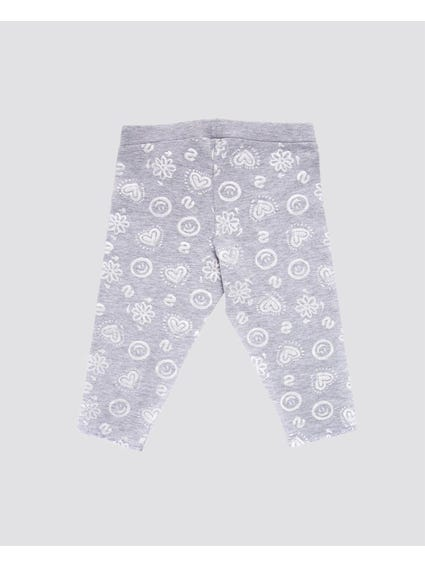 Grey Happy Elasticated Kids Leggings