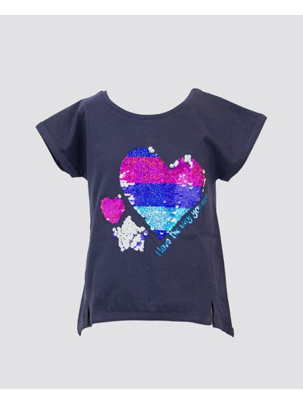 Blue Sequin Heart Kids Top