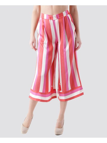 Wide Stripes Cropped Pants