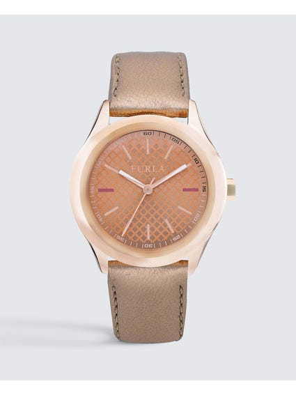 Pink Eva Rose Dial Leather Watch