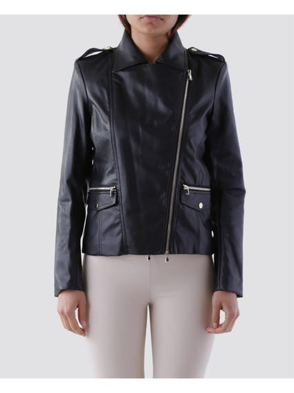 Zip Pockets Slant Zip Jacket