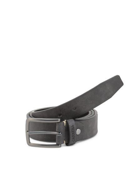 Black Leather Buckle Pin Belt