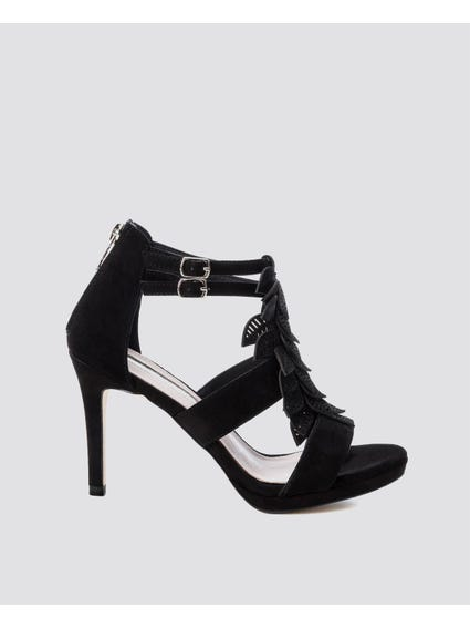 Black Ankle Strap High Heel Sandals