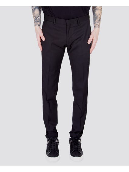 Black Solid Color Slim Trouser