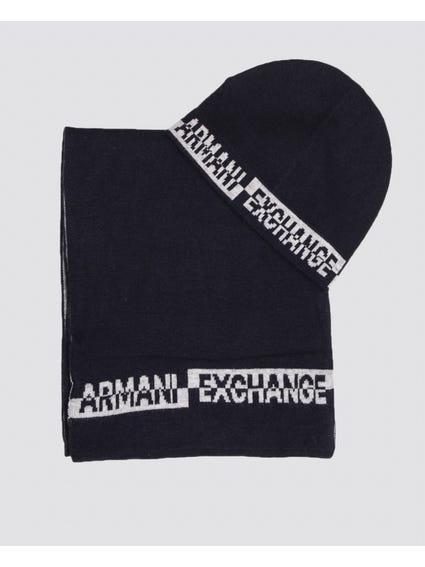 Black Logo Printed Beanie Set