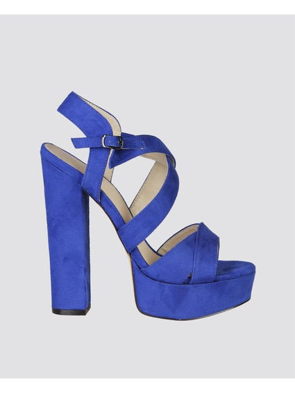 Blue Royal Block Heel Sandals