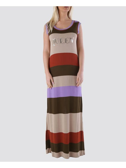 Purple Colorblock Printed Maxi Dress
