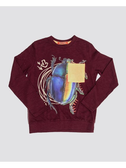 Printed Crew Neck Kids Sweatshirt