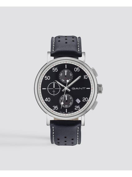 Black Wantage Chronograph Leather Watch