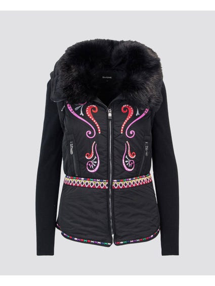 Fur Embroidered Zip Jacket