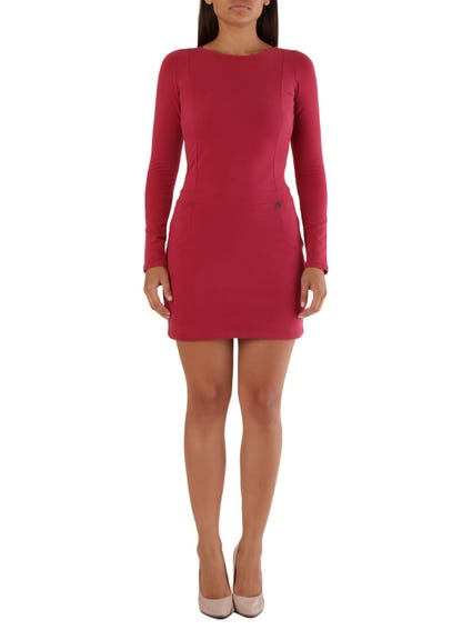 Red Classic Long Sleeve Dress