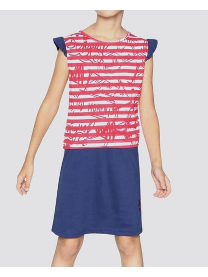 Stripe Cap Sleeves Kids Dress