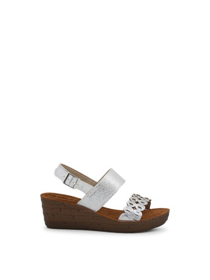 Grey Leather Ankle Strap Wedge Sandals