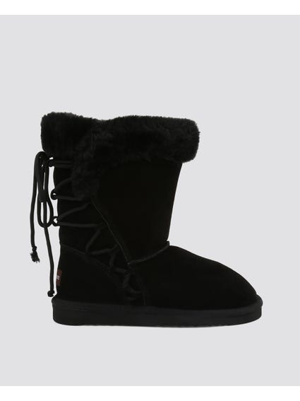Black Side Zipper Fur Suede Boots
