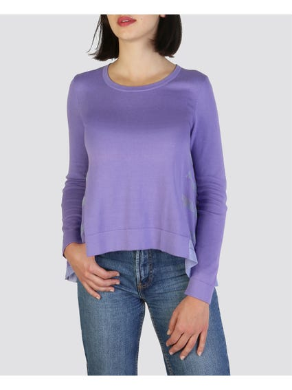 Purple Drop Hem Sweater