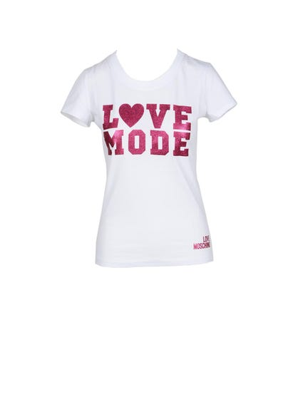 White Short Sleeve Love Print T-shirt