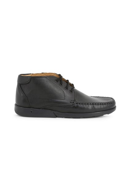 Black Leather Mid Top Moccasins
