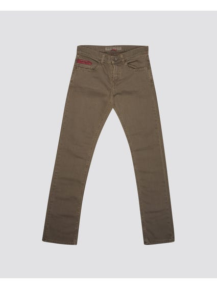 Brown Plain Button Kids Trouser