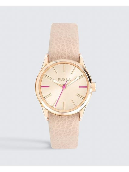 Pink Quartz Analog Leather Watch