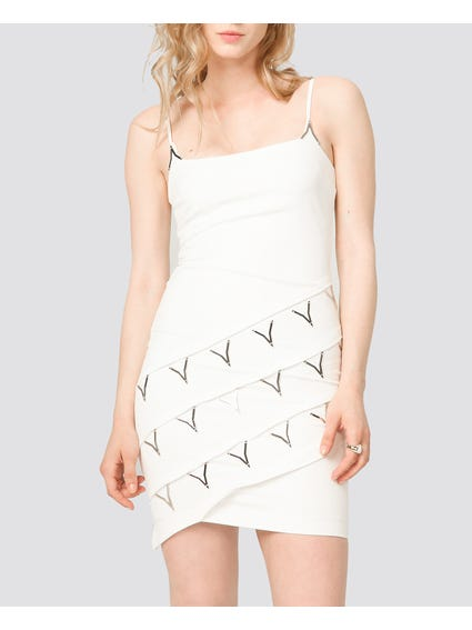 White Metallic Details Dress