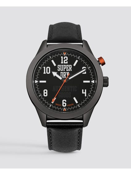 Round Black Dial Analog Watch