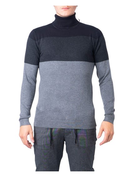 Grey Two Tone Color Turtle Neck Sweatshirt