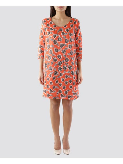 Orange Heart Print Dress