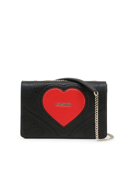 Black Leather Heart Studs Crossbody Bag