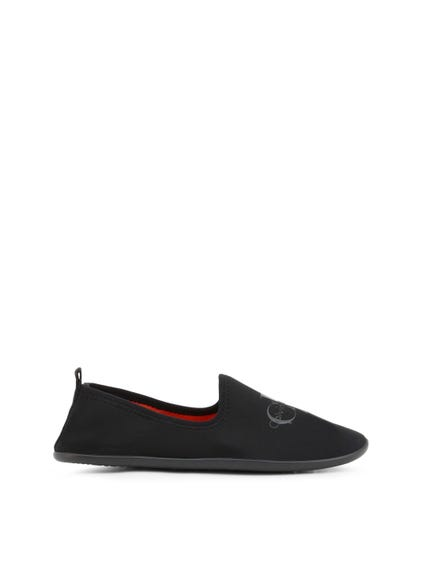Black Elastic Logo Slip On Shoes