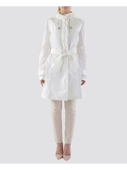 White Ruffle Detailed Neck to Waist Blazer