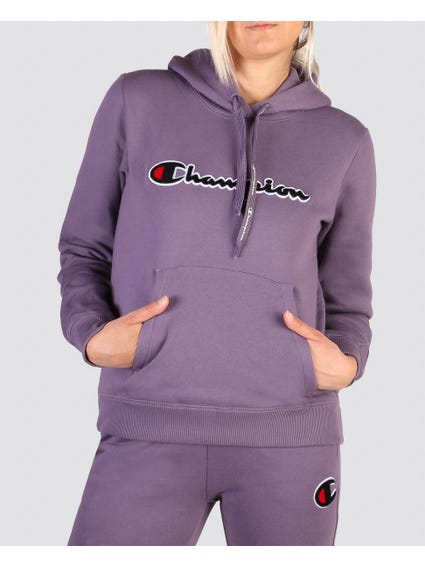 Purple Printed String Hoodie Sweatshirt
