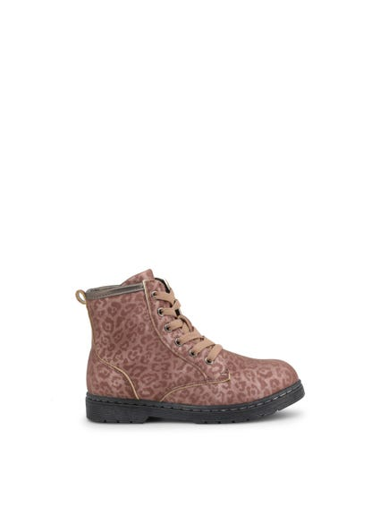 Printed High Top Lace Kids Ankle Boots