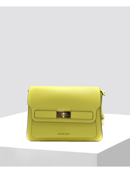 Yellow Smooth Leather Clutch Bag