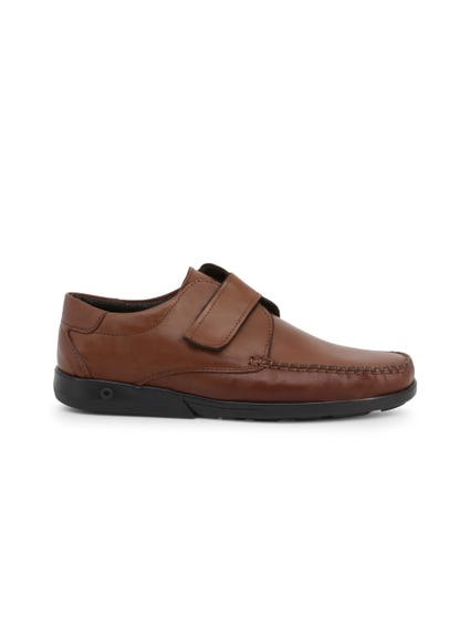 Brown Leather Strap Slip On Moccasins
