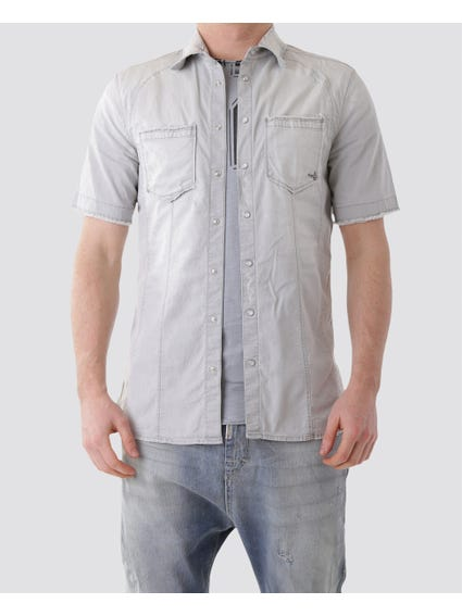 Grey Collar Short Sleeves Shirt