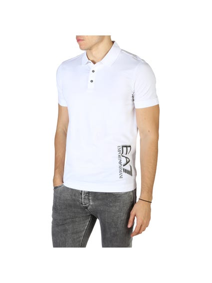White Side Printed Logo Polo Shirt