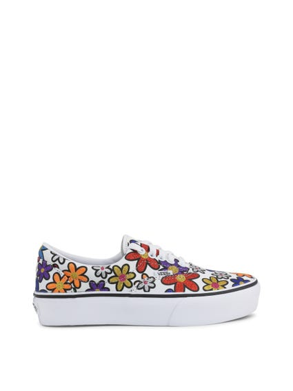 White Multi Glitter Flowers Sneakers