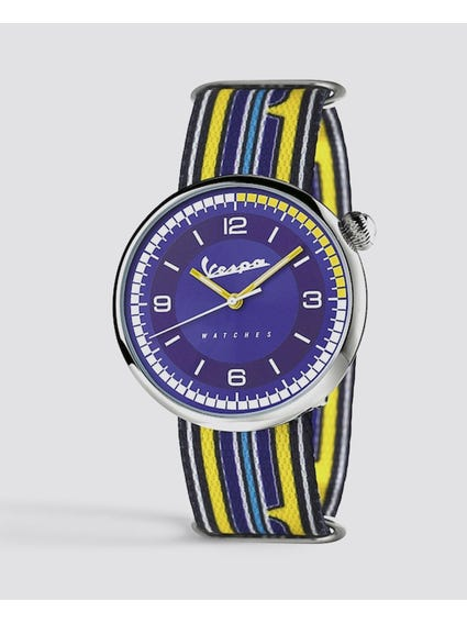 Irreverent Blue Dial Fabric Strap Watch