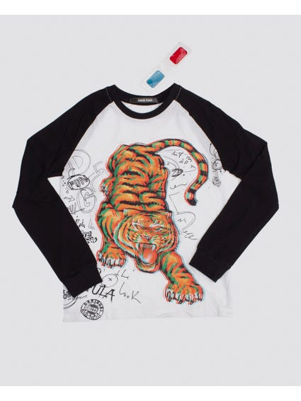 Tiger Raglan Sleeves Kids Top