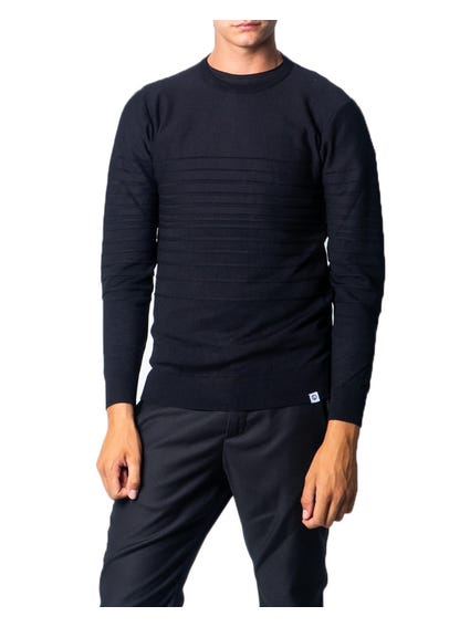 Black Crew Neck Pattern Knitwear