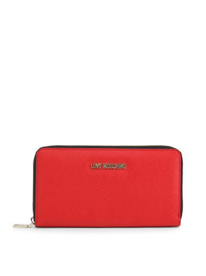 Red Leather Logo Round Zip Wallet
