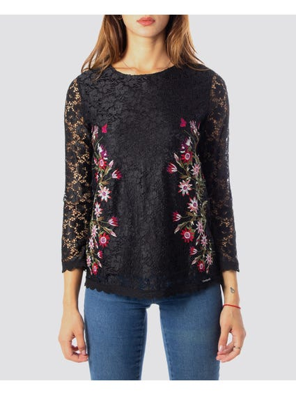 Black Embroidered Lace Blouse