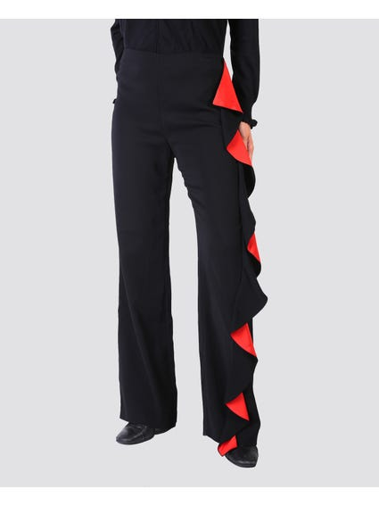 Black Plain Ruffle Trouser