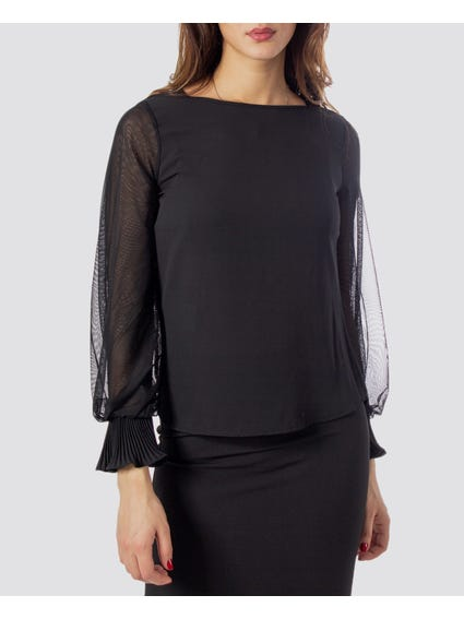 Black Round Neck Long Sleeve Blouse