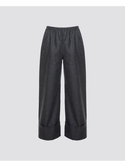 Solid Color Folded Kids Trouser