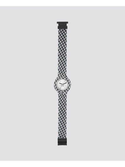 Black Pied De Poule Analog Watch
