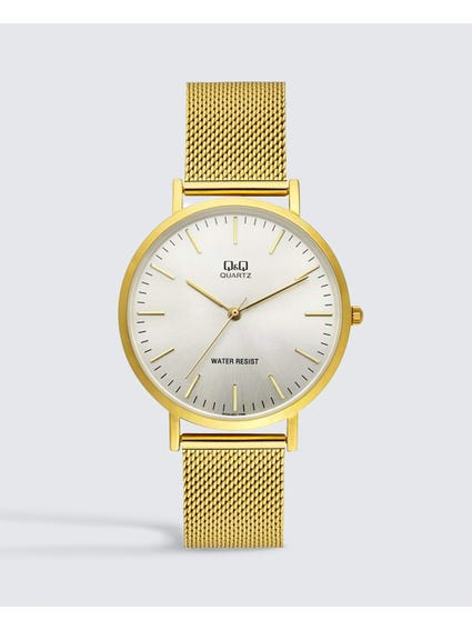 Gold Stainless Steel Mesh Watch